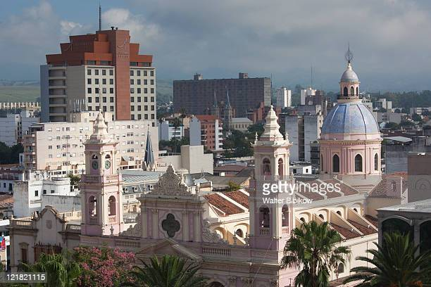 cathedral and plaza 9 de julio, salta province, argentina - salta argentina stock photos and pictures