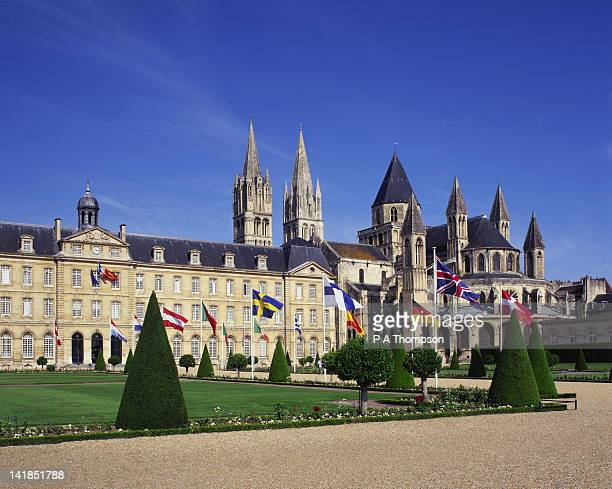 cathedral and town hall, caen, calvados, normandy, france - image photos et images de collection