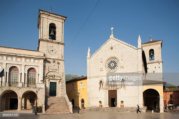 Cathedral and town hall. Piazza San Benedetto, Norcia, Umbria.