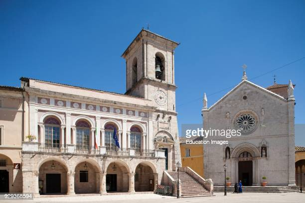 Cathedral And Town Hall. Piazza San Benedetto. Norcia. Umbria.