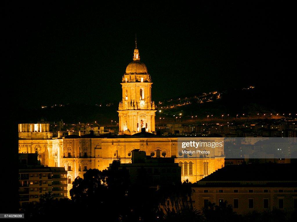 Cathedral at Night in Malaga : ストックフォト