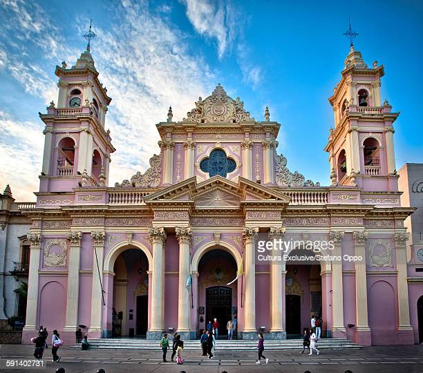 cathedral basilica of salta by day, province of salta, argentina - salta argentina stock photos and pictures