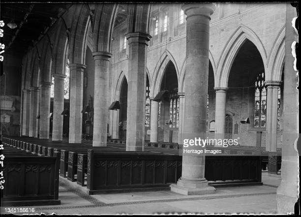 Cathedral Church of All Saints, Kirkgate, Wakefield, 1942. An interior view of All Saints Cathedral, looking north-west across the nave from the...