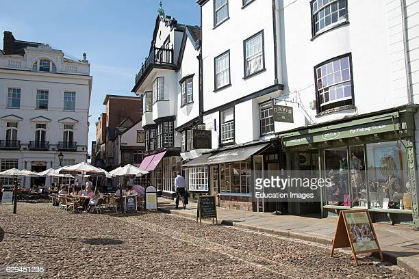 Cathedral Close Exeter Devon UK pavement cafe
