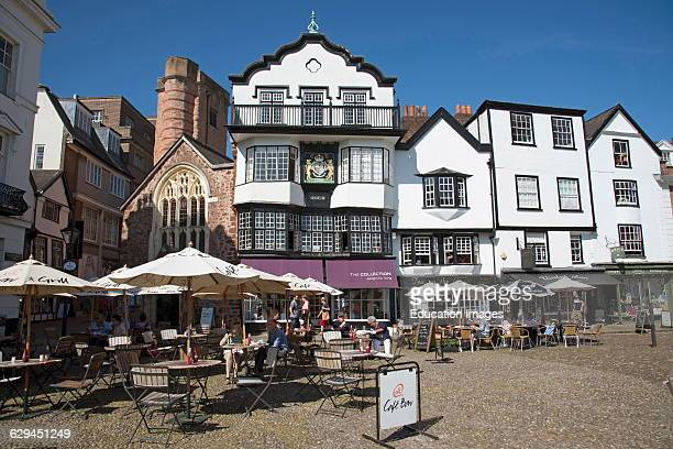Cathedral Close in the city of Exeter Devon England UK
