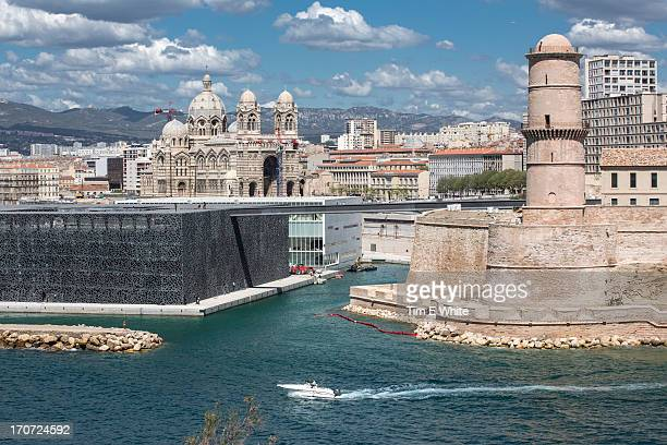 cathedral, fort and mucem building marseille, fran - marseille stock pictures, royalty-free photos & images