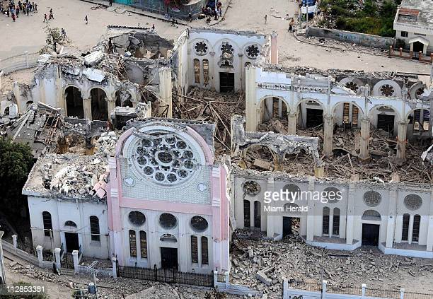 A cathedral in downtown PortauPrince Haiti shows heavy damage on Saturday January 16 2010 in the wake of Tuesday's earthquake