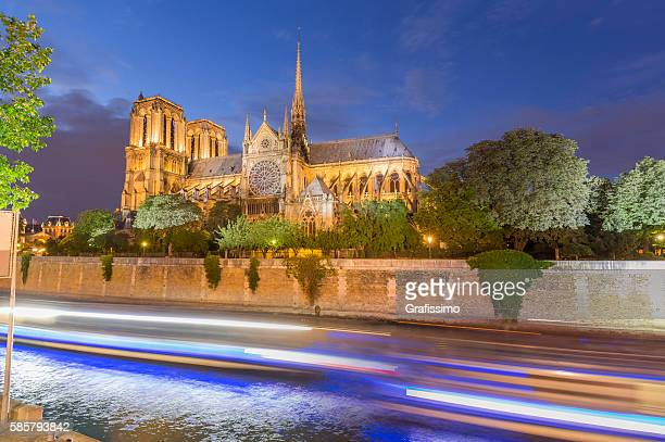 Cathedral Notre Dame France Paris at night