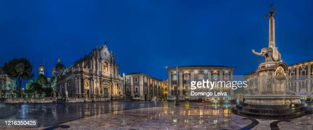 cathedral of catania at dusk, sicily, italy - カターニア ストックフォトと画像