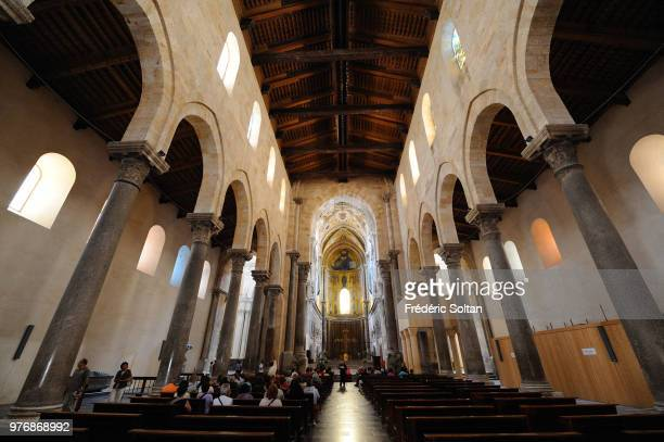 Cathedral of Cefalu sicilian romanesque style or norman architecture in Cefalu Province of Palermo Sicily on June 14 Italy