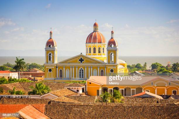 cathedral of granada cityscape nicaragua - granada stock photos and pictures