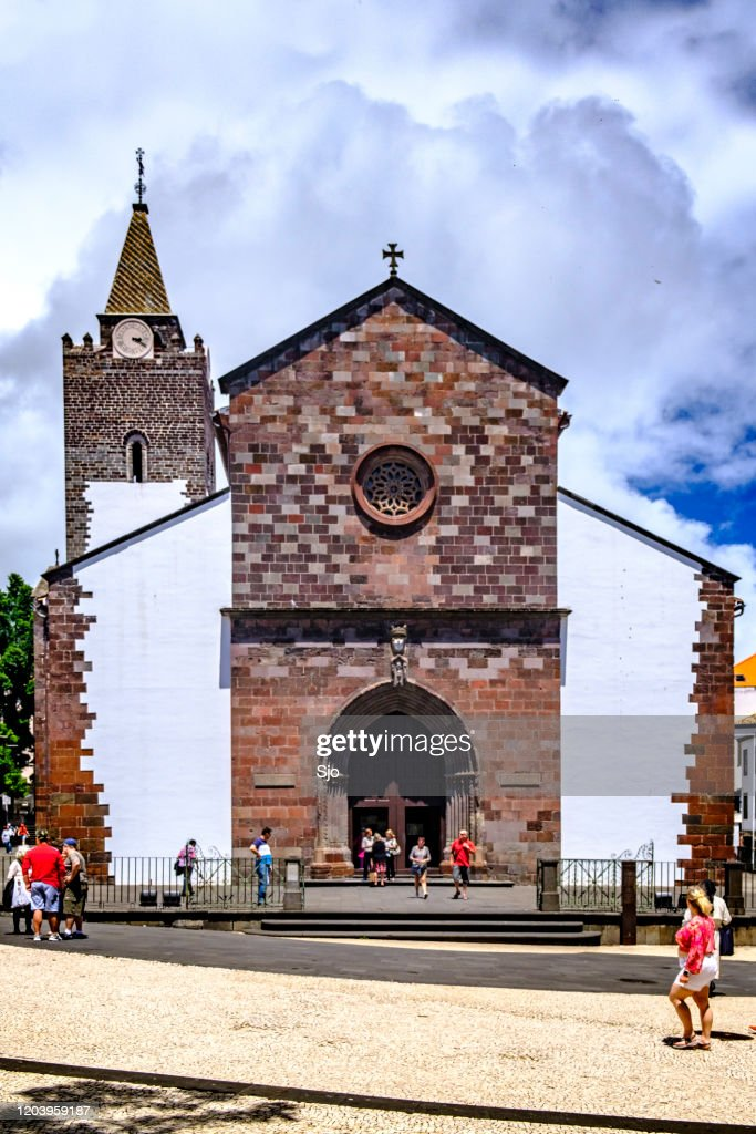 Cathedral of Our Lady of the Assumption exterior in Funchal Madeira : Stock Photo
