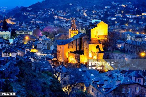 cathedral of our lady of zion and cityscape, sion, switzerland - sion switzerland stock pictures, royalty-free photos & images
