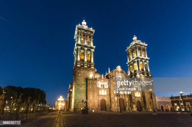 cathedral of puebla in mexico - puebla mexico stock pictures, royalty-free photos & images
