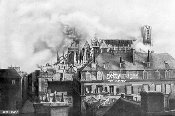 Cathedral of Reims on fire from German shelling France 1914