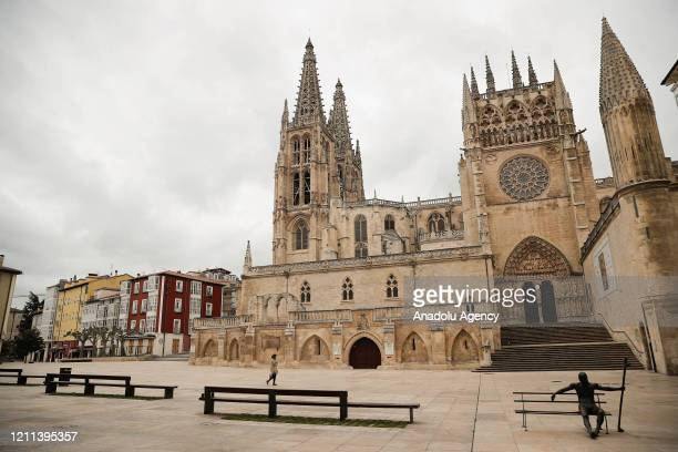 Cathedral of Saint Mary of Burgos and its surroundings remain nearly empty due to coronavirus pandemic in Burgos, Spain on April 30, 2020. The...