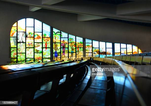cathedral of saint paul - stained glass, abidjan, ivory coast - paul the apostle stock pictures, royalty-free photos & images