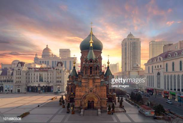 cathedral of saint sophia, harbin, heilongjiang, china - image stockfoto's en -beelden