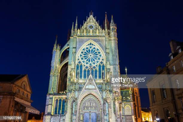 cathedral of saint stephen in metz - moselle stockfoto's en -beelden