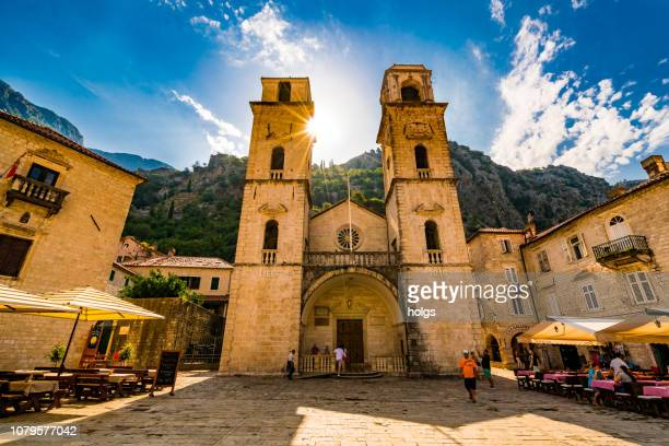 Cathedral of Saint Tryphon with bell and clock tower in Kotor, Montenegro, Europe