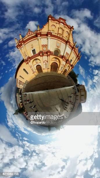 cathedral of san cristobal de las casas in tinyplanet - blue balls pics stock pictures, royalty-free photos & images