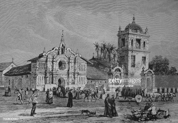 Cathedral of San Miguel in Salvador Woodcut from 1892