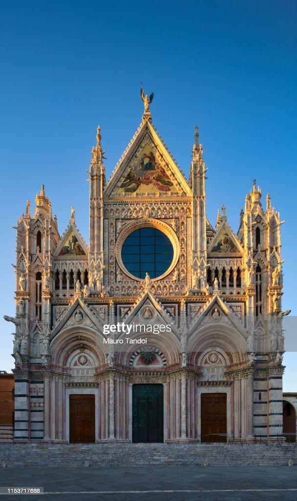 Cathedral of Santa Maria Assunta at dusk, Siena, Tuscany : Foto stock