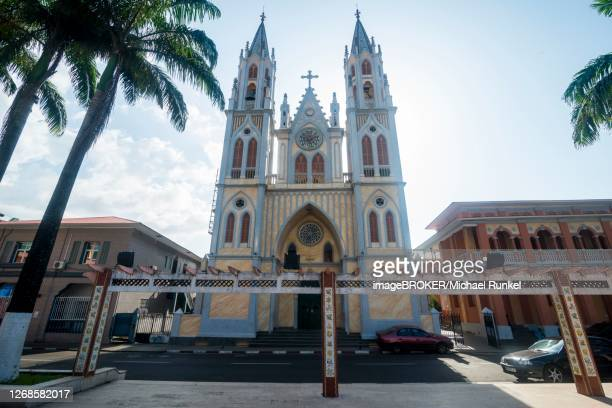 cathedral of st. isabel, malabo, bioko, equatorial guinea - equatorial guinea stock pictures, royalty-free photos & images