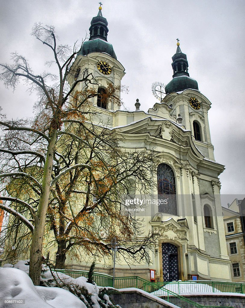 Cathedral of St. Mary Magdalene in Karlovy Vary, Czech Republic : Stock Photo