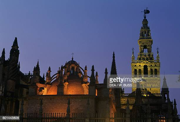 Cathedral of St Mary of the See 15th16th century and the tower of the Giralda 12th16th century Seville by night Andalusia Spain