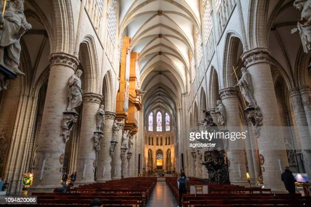 cathedral of st. michael and st. gudula in brussels - catholicism stock pictures, royalty-free photos & images