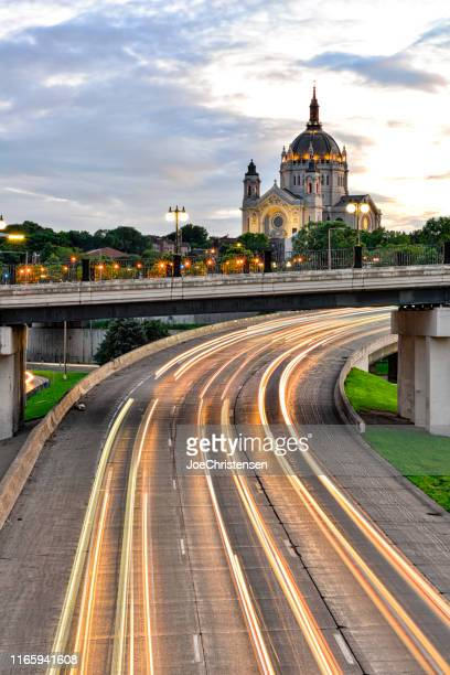 cathedral of st. paul in st. paul minnesota with traffic light trials - st. paul minnesota stock pictures, royalty-free photos & images