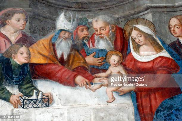cathedral of the assumption of mary and saint john the baptist.  the circumcision of christ. aosta. italy. - circumcision stock pictures, royalty-free photos & images