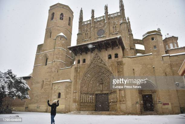 Cathedral of the city in the snow after the Filomena storm, on January 09 in Huesca, Aragon, Spain.
