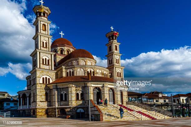 cathedral of the resurrection in korca, albania - albanië stockfoto's en -beelden