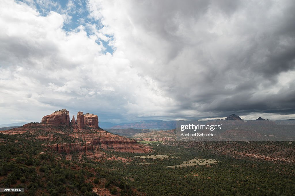 Cathedral Rock, Arizona with approaching sto : Stock Photo