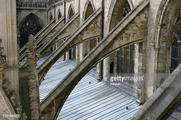 cathedral roof architecture, york, england - flying buttress stock photos and pictures