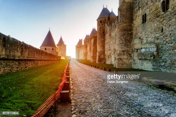 cathedral saint michel of carcassonne in sunshine day, france - carcassonne stock pictures, royalty-free photos & images