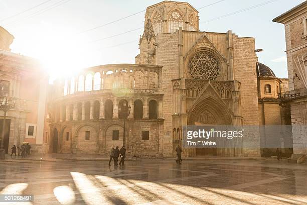 cathedral square, valencia, spain - valencia stock photos and pictures