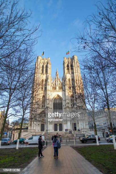 cathedral st. michael and st. gudula in brussel, belgium - king baudouin of belgium stock pictures, royalty-free photos & images