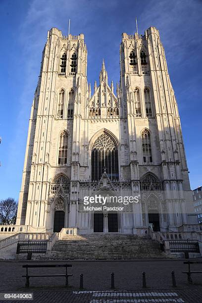 cathedral st. michel - cathedral of st. michael and st. gudula stock photos and pictures