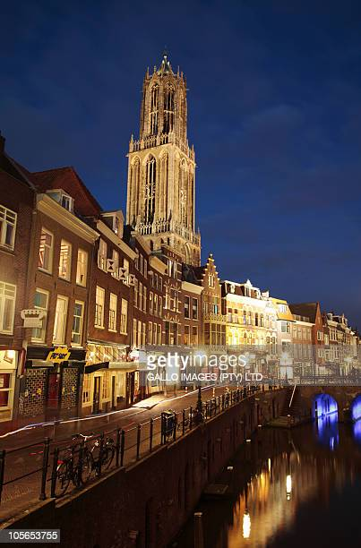 Cathedral Tower (or Domtoren) and Oudegracht at dusk, or 'old canal', Utrecht, Holland (Netherlands)