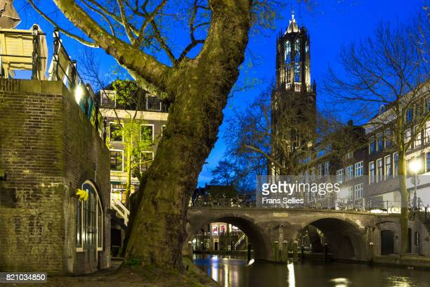 Cathedral Tower (or Domtoren) and Oudegracht at night, Utrecht, Netherlands