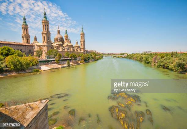 cathedral-basilica of nuestra senora of pilar of zaragoza and the river ebro - ebro river stock photos and pictures