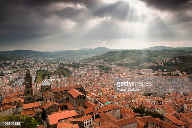 cathedrale notre-dame and town - le puy stock pictures, royalty-free photos & images