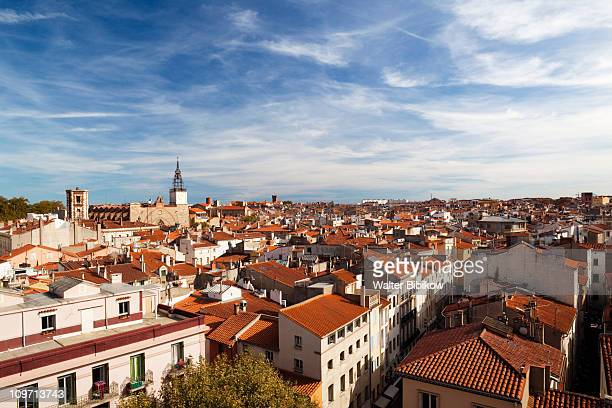 cathedrale st-jean from le castillet - perpignan stock photos and pictures
