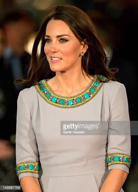 """Catheine, Duchess of Cambridge attends the UK premiere of """"African Cats"""" in aid of Tusk at BFI Southbank on April 25, 2012 in London, England."""