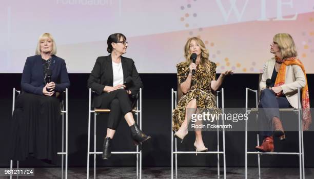 Catherine Adair Hala Bahmet Allyson Fanger and Mary Melton speak onstage at the Women in Entertainment and The Television Academy Foundation's...