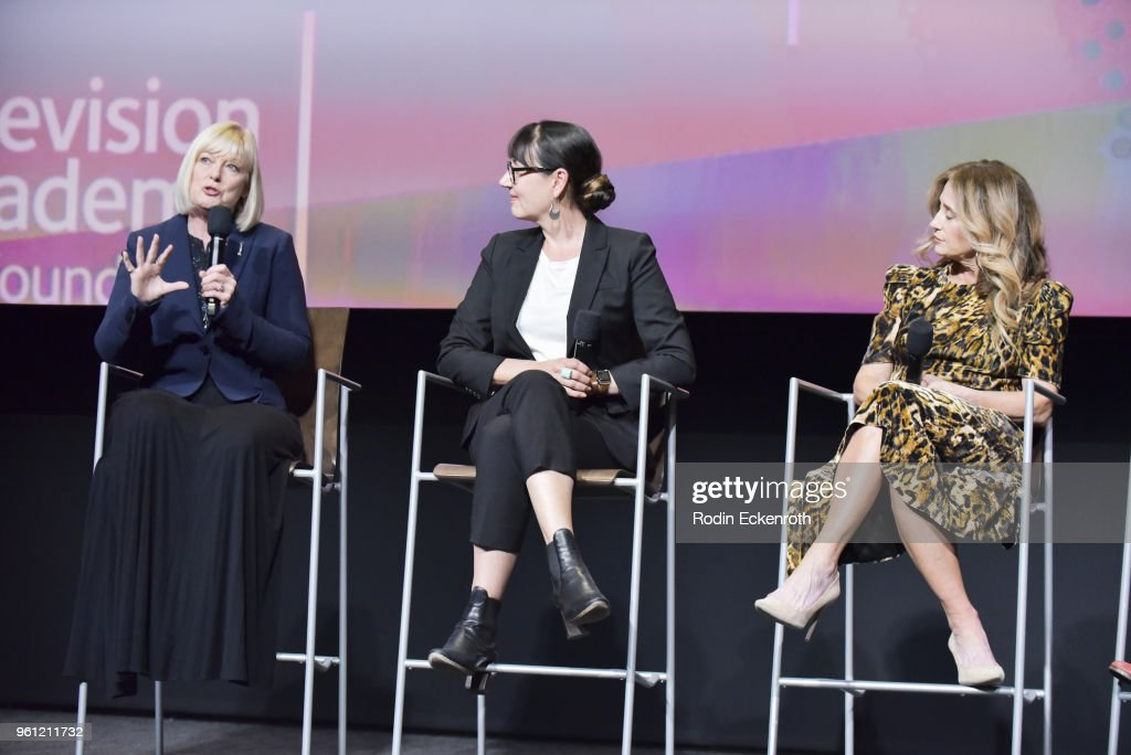 Catherine Adair, Hala Bahmet, and Allyson Fanger speak onstage at the Women in Entertainment and The Television Academy Foundation's Inaugural Women in Television Summit at Saban Media Center on May 21, 2018 in North Hollywood, California.