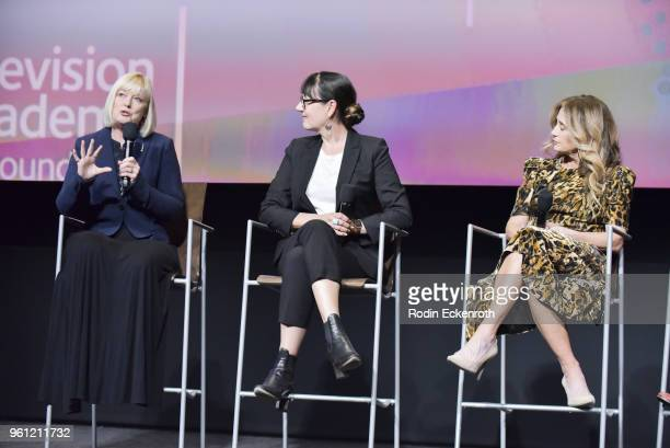 Catherine Adair Hala Bahmet and Allyson Fanger speak onstage at the Women in Entertainment and The Television Academy Foundation's Inaugural Women in...